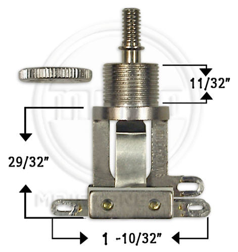 Switchcraft Short Straight Type 3-Way Toggle Switch Fits Epiphone Guitars