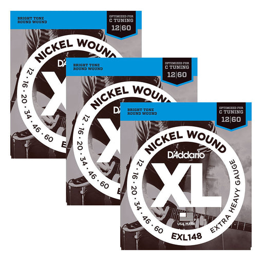 3 Sets! D'Addario EXL148 Nickel Wound, Extra-Heavy, 12-60