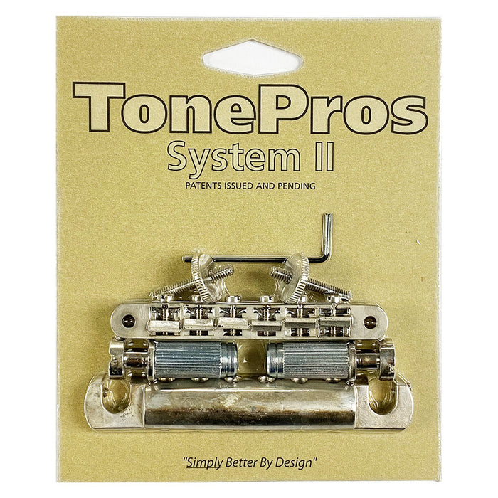TonePros Nashville Metric Pre-Notched Bridge Tailpiece Set Aged Nickel LPM02-AN