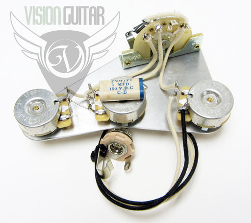 Late 50's PRE-WIRED Strat Upgrade Wiring Kit - Matched CTS Pots Paper In Oil Cap