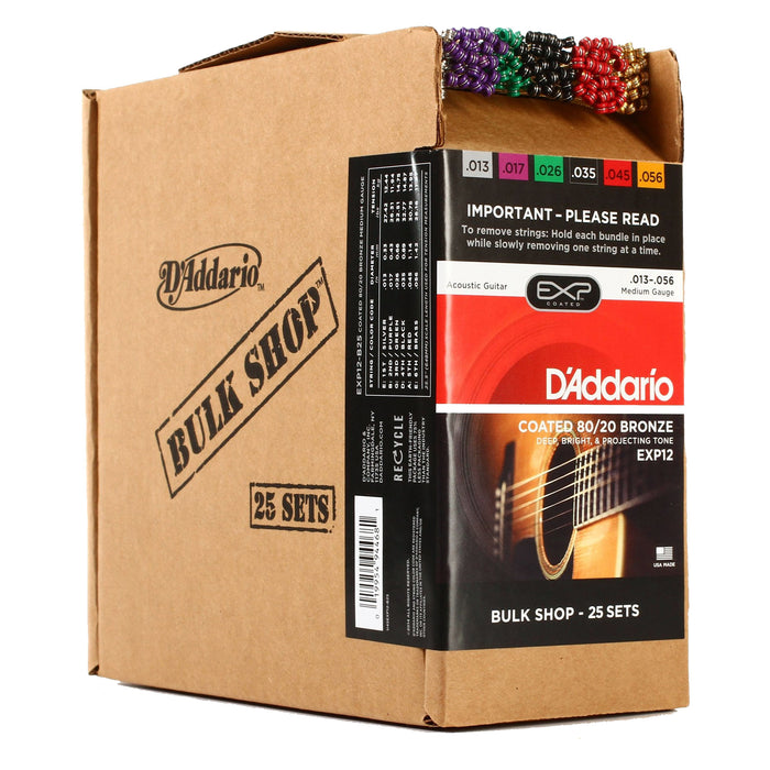 25-Sets! D'Addario EXP12 Coated 80/20 Bronze, Medium, 13-56 Bulk Pack