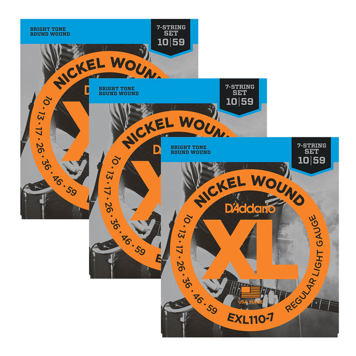 3-Pack D'Addario EXL110-7 Nickel 7-String Guitar Strings 10-59 Gauge