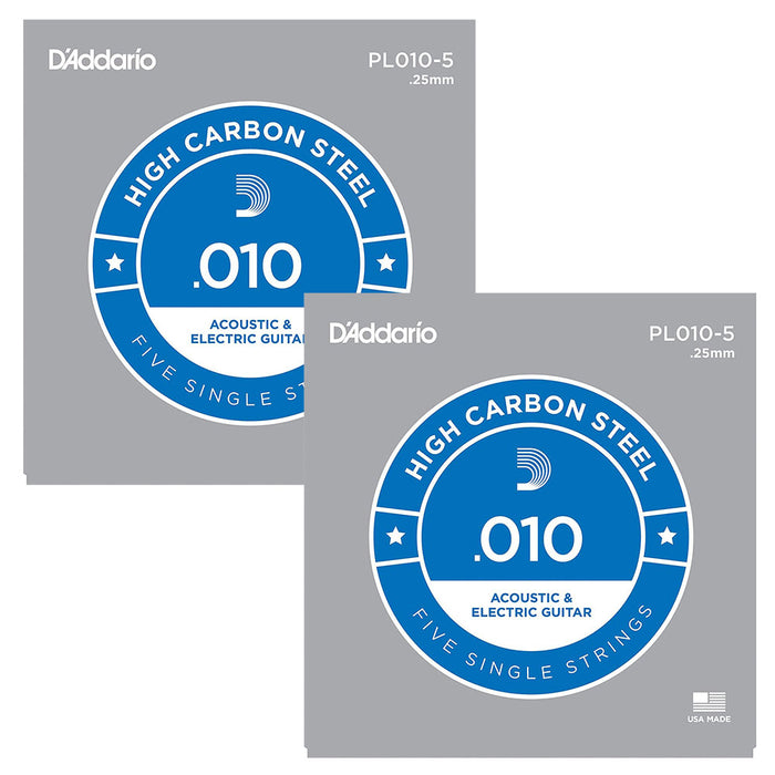 D'Addario Plain Steel Singles 10-Pack of .010 Gauge Single Strings
