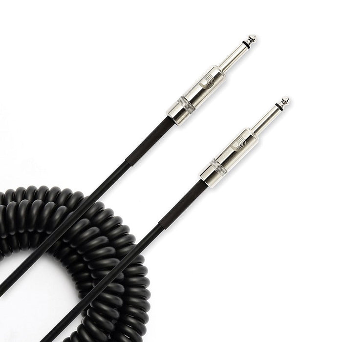 D'Addario PW-CDG-30BK Custom Series 30' Black Coiled Instrument Cable