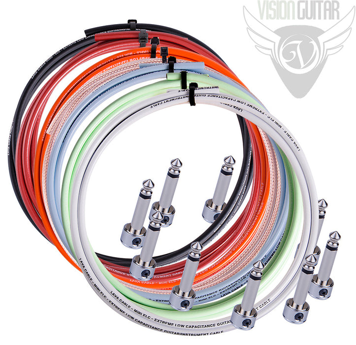 Lava Piston Solder-Free Pedal Board Cable Kit - 10 R/A Plugs + 10' Cable - Red