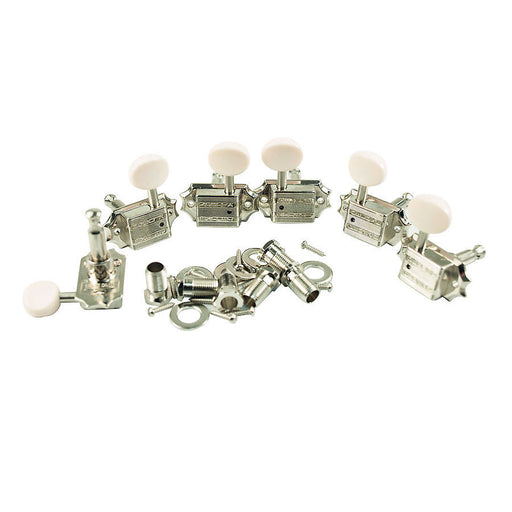 TonePros TPKBW-N Nickel Kluson Tuners 3x3 White Button