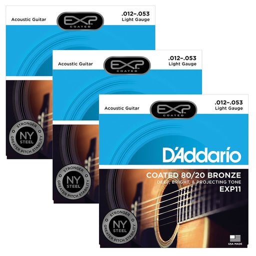 3-Sets! D'Addario EXP11 Coated 80/20 Bronze, Light, 12-53 Strings