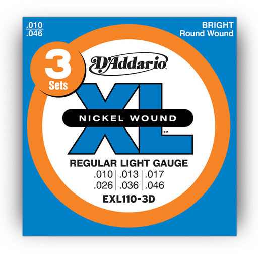 D'Addario EXL110-3D XL Guitar Strings Sets 10-46 Gauge (3-Packs)