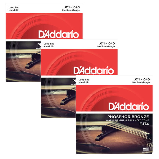 3-Sets! D'Addario EJ74 Mandolin Strings, Phosphor Bronze, Medium, 11-40