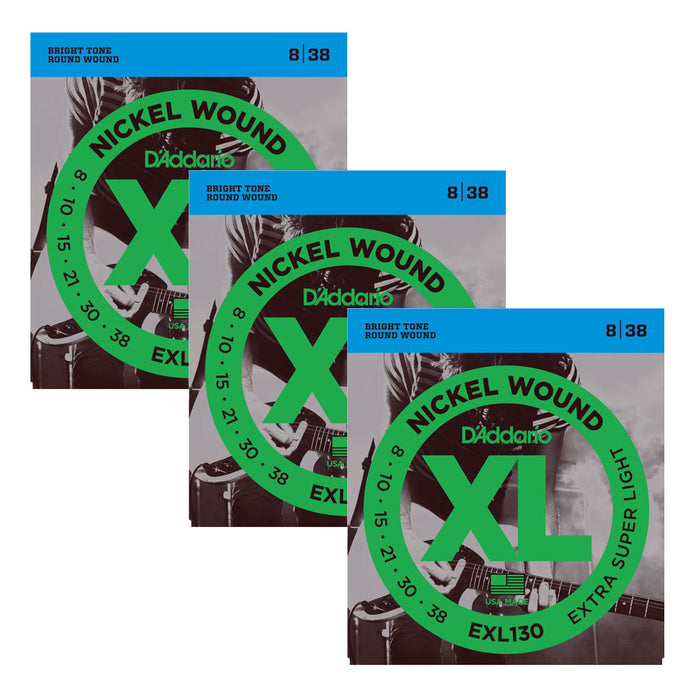 3-Sets! D'Addario EXL130 Nickel Wound, Extra-Super Light, 8-38