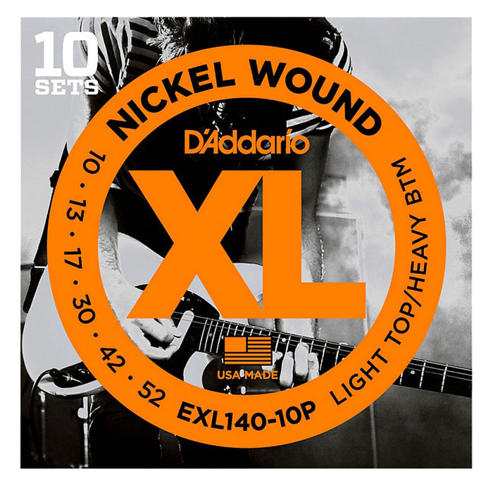 D'Addario EXL140-10P Nickel Wound Guitar Strings 10-52 (10-Pack)