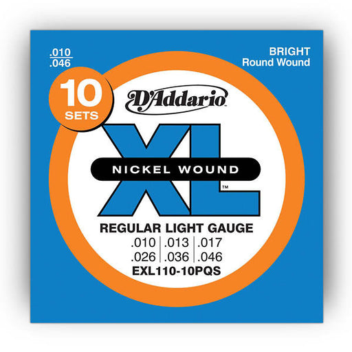 D'Addario EXL110-10P XL Guitar Strings Sets 10-46 Gauge (10 Full Packs)
