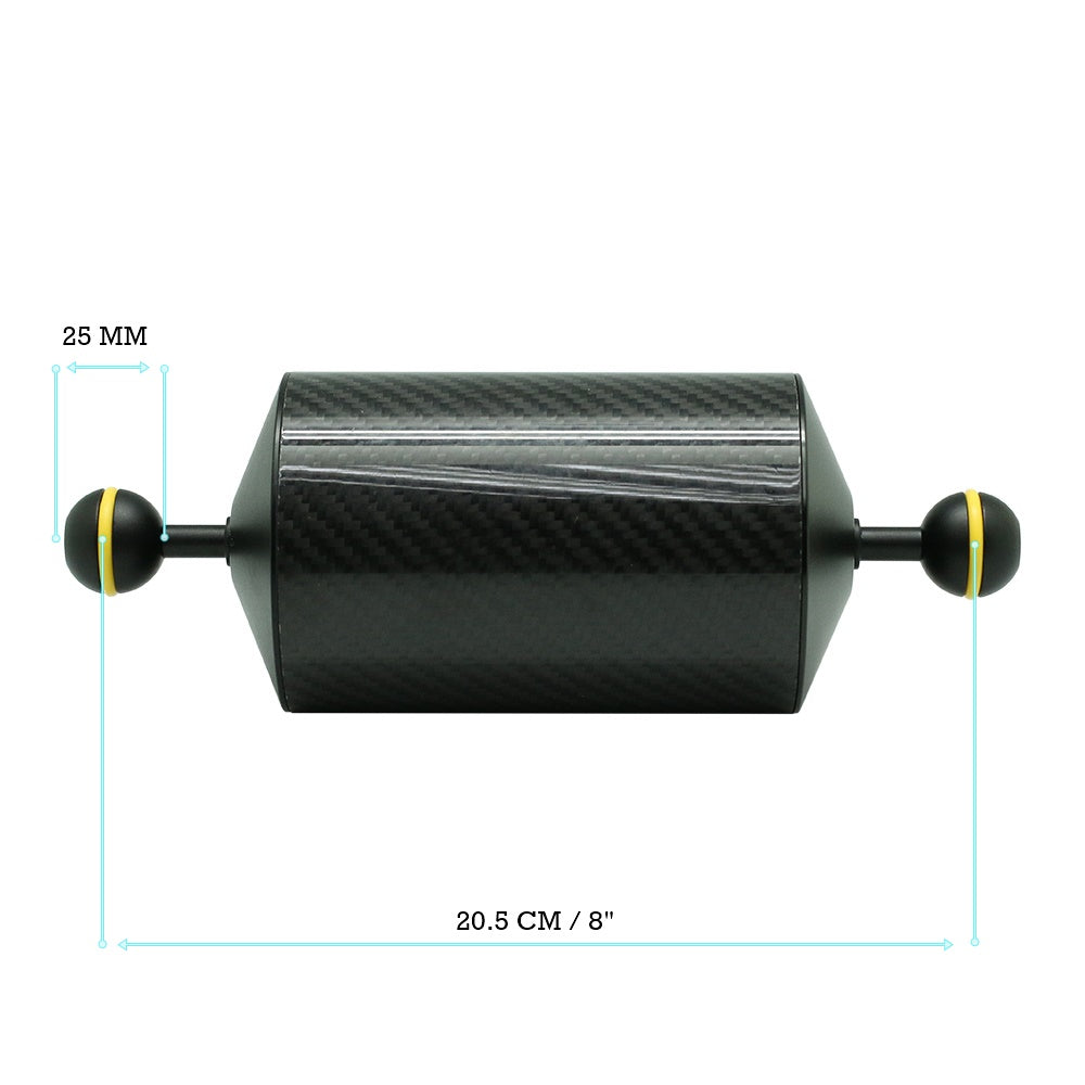 "2 x 8""/20.5cm D80mm Carbon Fiber Underwater Float Arm for Video Light/Strobe mounting - A6XXX SALTED LINE"