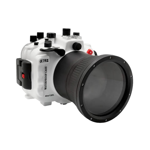 Sony A7R III V.2 Series 40M/130FT Underwater camera housing (Including Flat Long port) Focus gear for FE 90mm / Sigma 35mm included. White