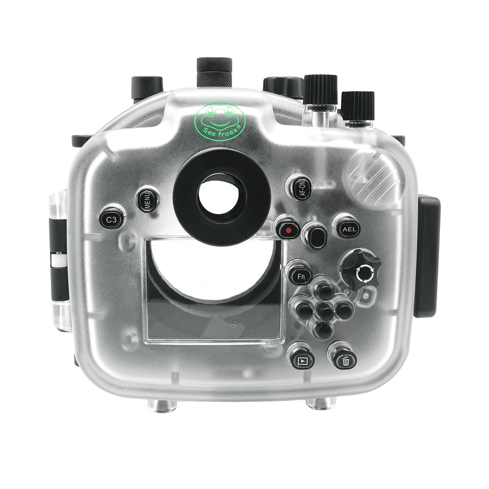 Sony A7 III 40M/130FT Underwater camera housing with 67mm threaded flat port for FE 90mm macro lens (focus gear included) and standard port bundle. White