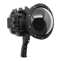 "Sony A7R IV UW camera housing with 6"" Dome port & pistol grip (Including Standard port) Zoom rings for FE12-24 F4 and FE16-35 F4 included. Black - Surf"