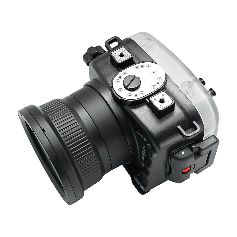 "Sony A7R IV 40M/130FT Underwater camera housing with 6"" Flat Long Port for Sony FE 24-105mm F4 (standard port included). Black"