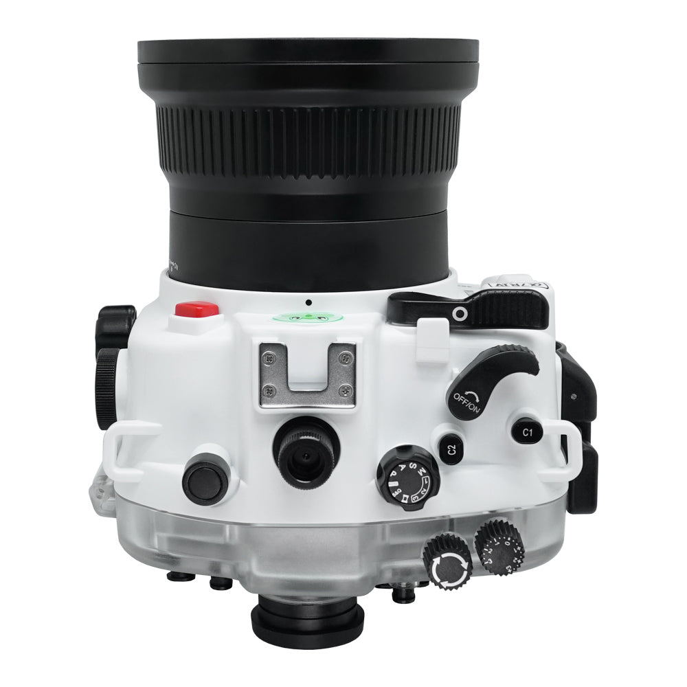Sony A7R IV 40M/130FT Underwater camera housing with 67mm threaded flat port for FE 90mm macro lens (focus gear included) and standard port bundle. White
