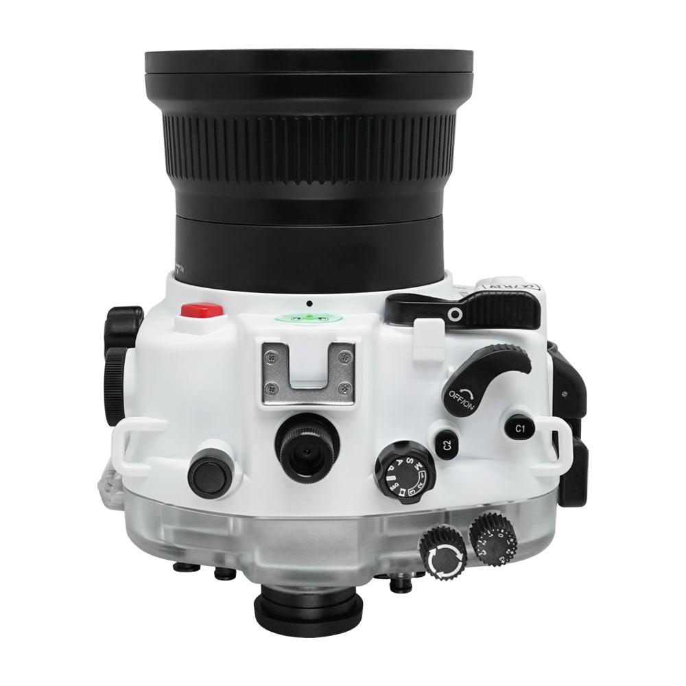 "Sony A7R IV UW camera housing with 6"" Dome port & pistol grip (Including Standard port) Zoom rings for FE12-24 F4 and FE16-35 F4 included. White - Surf"