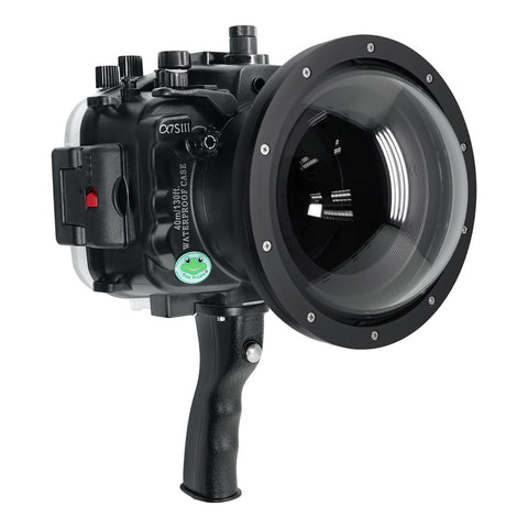 "Sony A7S III UW camera housing with 6"" Dome port & pistol grip (Including Standard port) Zoom rings for FE12-24 F4 and FE16-35 F4 included. Black - Surf"