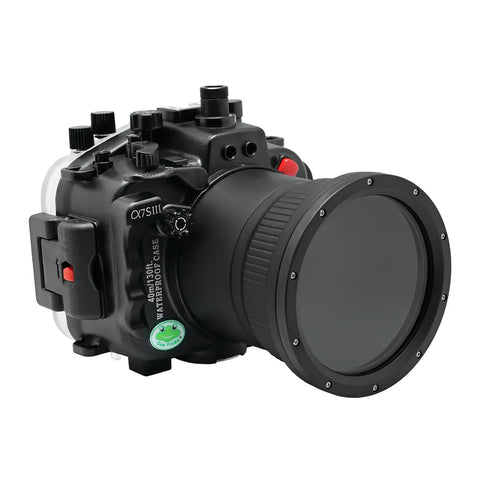 Sony A7S III 40M/130FT Underwater camera housing (Including Flat Long port) Focus gear for FE 90mm / Sigma 35mm included. Black