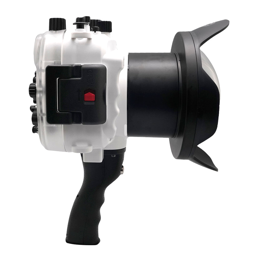 "Sony A7 NG Series 40M/130FT UW housing with 6"" Dome port & pistol grip (Standard port) White - A6XXX SALTED LINE"