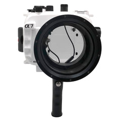 Sony A7 NG Series 40M/130FT Underwater camera housing with pistol grip (Long port) White - A6XXX SALTED LINE