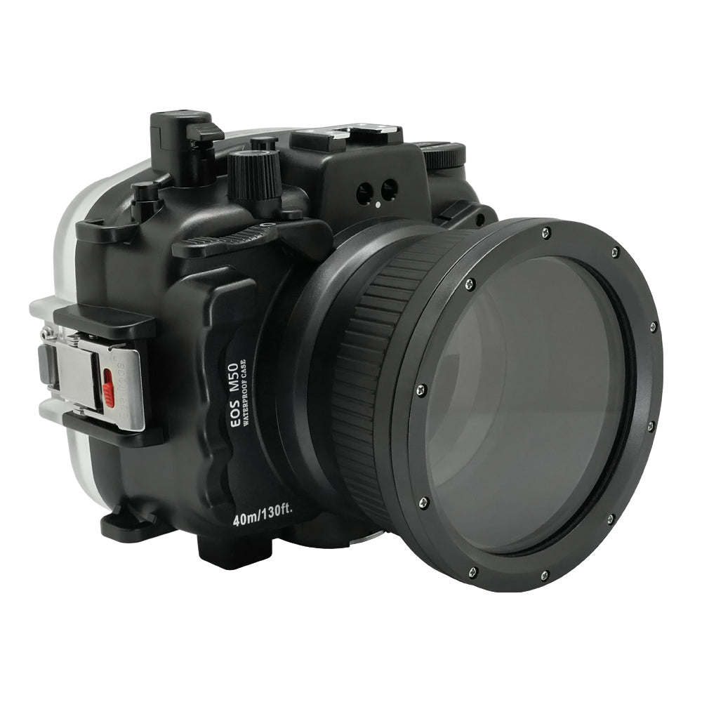 "Canon EOS M50 / EOS Kiss M 40m/130ft SeaFrogs Underwater Camera Housing with 15-45mm/11-22mm flat port & 6"" Dry Dome Port"
