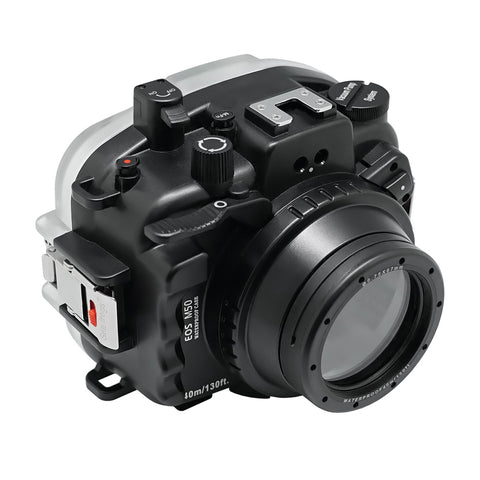 Canon EOS M50 / EOS Kiss M (28mm & 32mm) 40m/130ft SeaFrogs Underwater Camera Housing with 67mm threaded flat short port