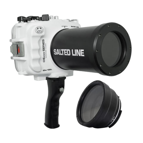 SeaFrogs 60M/195FT Waterproof housing for Sony A6xxx series Salted Line with pistol grip & 55-210mm lens port (White)