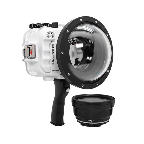 "SeaFrogs UW housing for Sony A6xxx series Salted Line with pistol grip & 6"" Dry dome port (White) - Surfing photography edition / GEN 3"