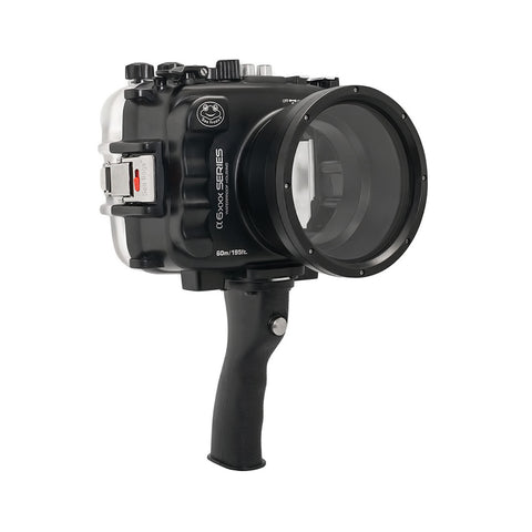 SeaFrogs 60M/195FT Waterproof housing for Sony A6xxx series Salted Line with pistol grip & 55-210mm lens port / GEN 3