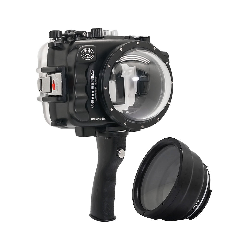 "SeaFrogs UW housing for Sony A6xxx series Salted Line with pistol grip & 4"" Dry Dome Port (Black) - A6XXX SALTED LINE"