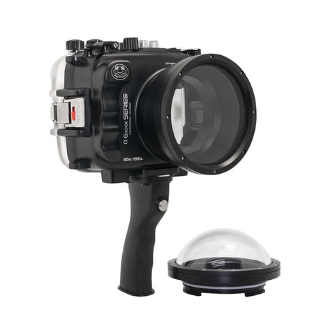 "SeaFrogs UW housing for Sony A6xxx series Salted Line with pistol grip & 4"" Dry Dome Port (Black)"