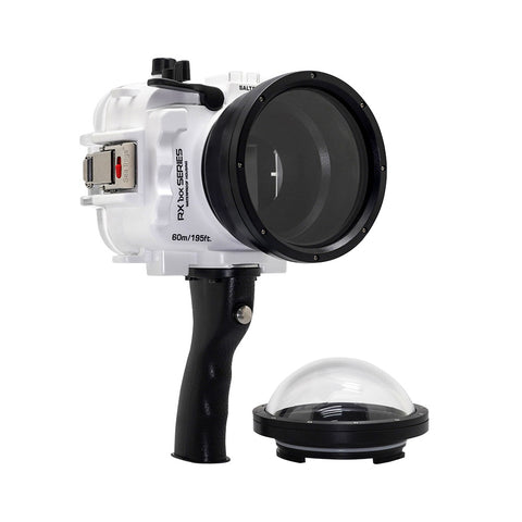 "60M/195FT Waterproof housing for Sony RX1xx series Salted Line with Pistol grip & 4"" Dry Dome Port(White) - A6XXX SALTED LINE"