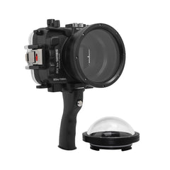 "60M/195FT Waterproof housing for Sony RX1xx series Salted Line with Pistol grip & 4"" Dry Dome Port (Black) - A6XXX SALTED LINE"