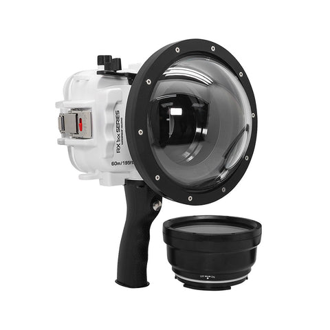 "60M/195FT Waterproof housing for Sony RX1xx series Salted Line with Pistol grip & 6"" Dry Dome Port - Surf (White)"