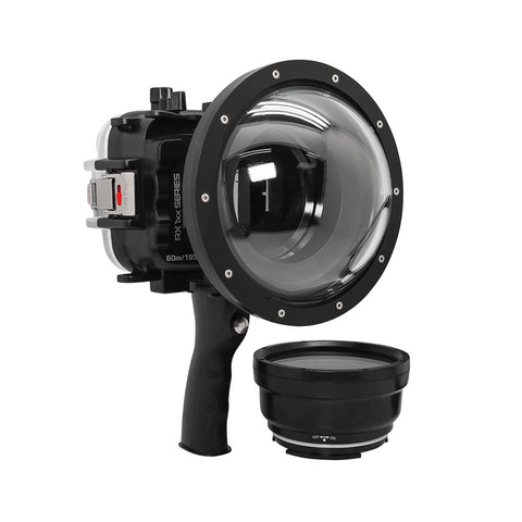 "60M/195FT Waterproof housing for Sony RX1xx series Salted Line with Pistol grip & 6"" Dry Dome Port - Surf (Black)"