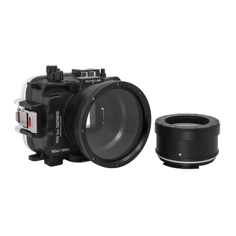 60M/195FT Waterproof housing for Sony RX1xx series Salted Line with 67mm threaded Macro port for Sony RX100 VI / VII (Black) - A6XXX SALTED LINE
