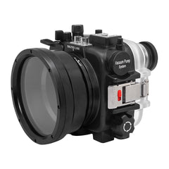 "60M/195FT Waterproof housing for Sony RX1xx series Salted Line with Pistol grip & 6"" Dry Dome Port (Black) - A6XXX SALTED LINE"