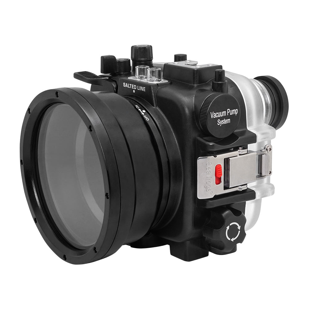 "60M/195FT Waterproof housing for Sony RX1xx series Salted Line with Pistol grip & 6"" Dry Dome Port - Surf (Black) - A6XXX SALTED LINE"