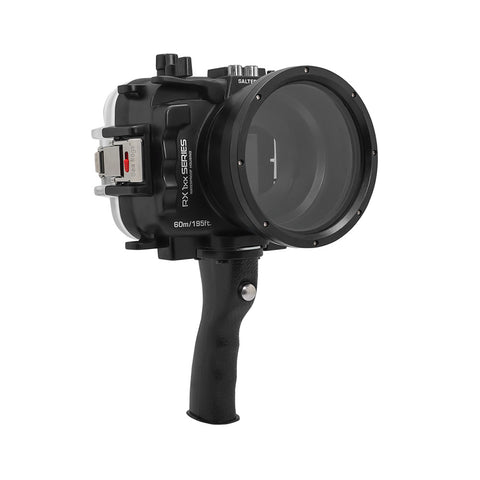 60M/195FT Waterproof housing for Sony RX1xx series Salted Line with Pistol grip (Black) - A6XXX SALTED LINE