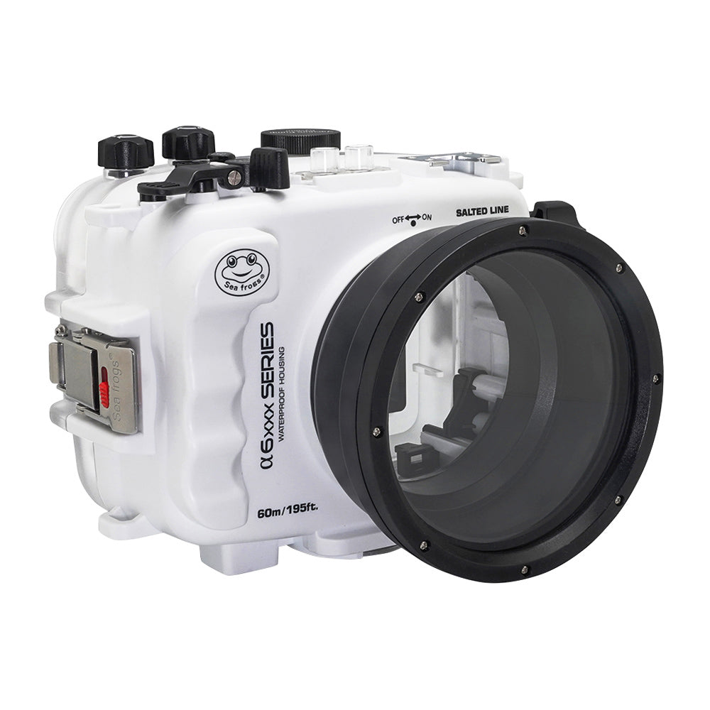 SeaFrogs 60M/195FT Waterproof housing for Sony A6xxx series Salted Line with 55-210mm lens port (White) / GEN 3