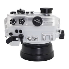 SeaFrogs 60M/195FT Waterproof housing for Sony A6xxx series Salted Line with 55-210mm lens port (White)