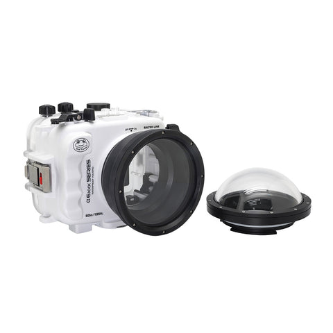 "SeaFrogs 60M/195FT Waterproof housing for Sony A6xxx series Salted Line with 4"" Dry Dome Port (White)"