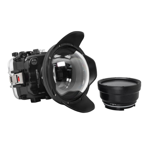 "SeaFrogs 60M/195FT Waterproof housing for Sony A6xxx series Salted Line with 6"" Dry dome port"