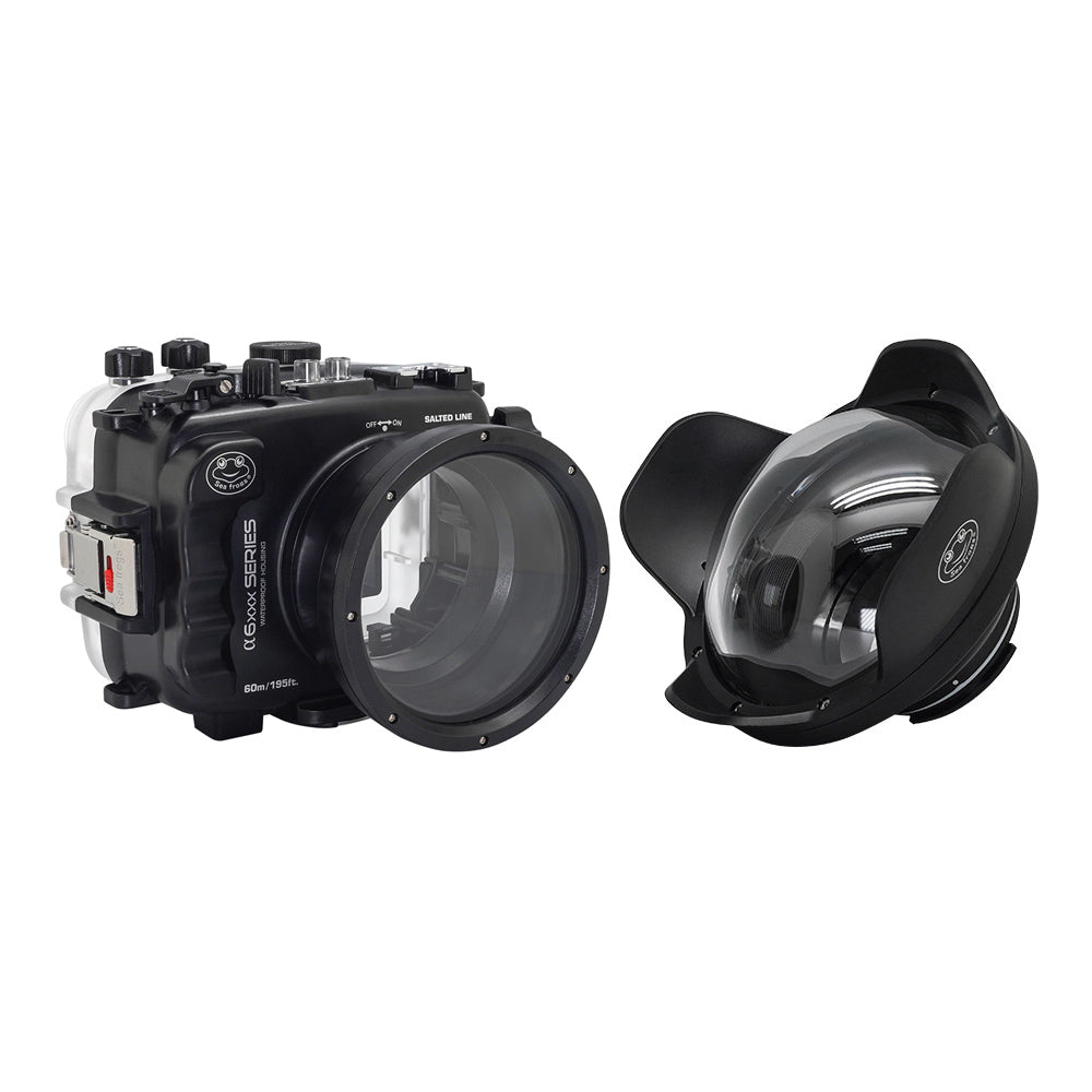 "SeaFrogs 60M/195FT Waterproof housing for Sony A6xxx series Salted Line with 6"" Dry dome port - A6XXX SALTED LINE"