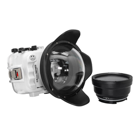 "SeaFrogs UW housing for Sony A6xxx series Salted Line with 6"" Dry dome port (White)"