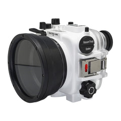 60M/195FT Waterproof housing for Sony RX1xx series Salted Line with 67mm threaded short / Macro port for Sony RX100 VI / VII (White)
