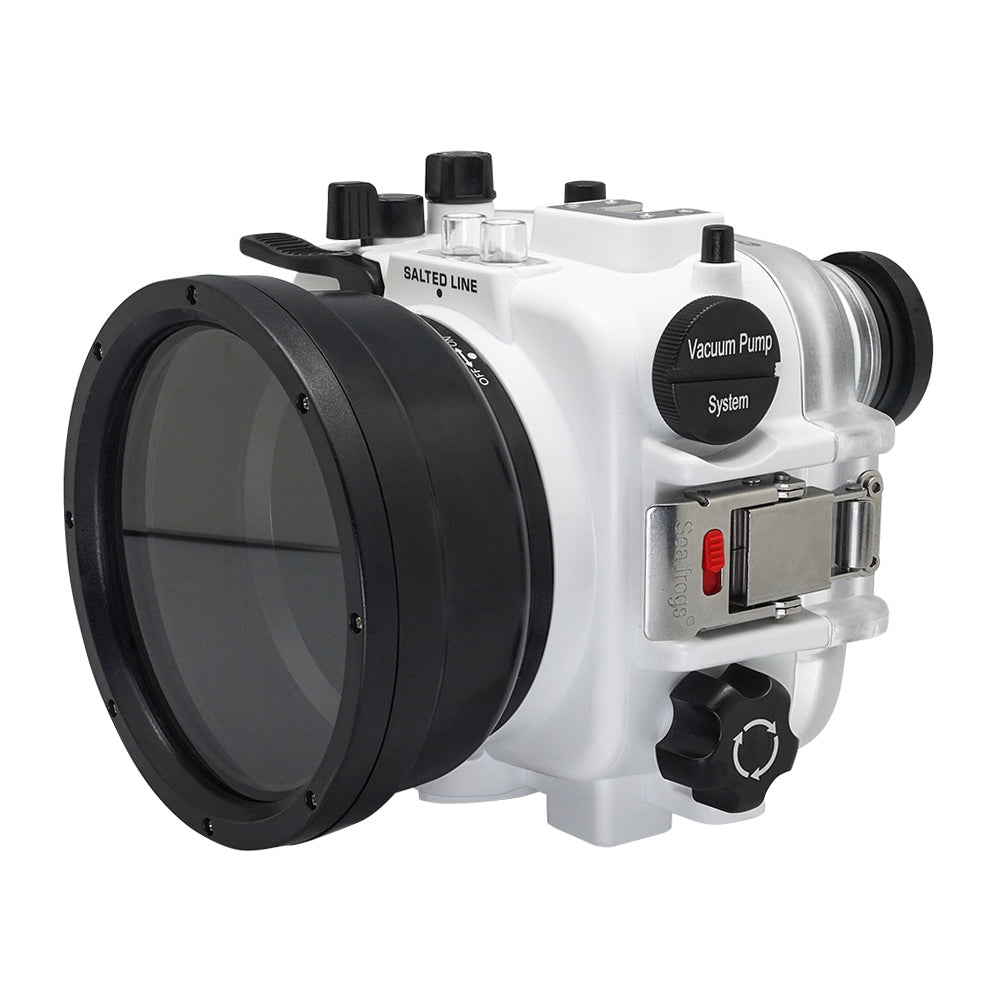 60M/195FT Waterproof housing for Sony RX1xx series Salted Line with 67mm threaded short / Macro port for RX100 III/IV/V (White) - A6XXX SALTED LINE